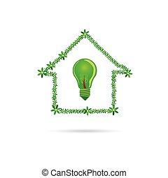 eco, 家, ベクトル, 緑, 電球