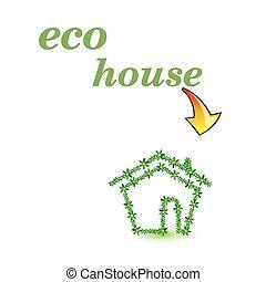 eco, 家, ベクトル, 芸術, 緑
