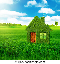eco, 家, 背景, 抽象的, 環境