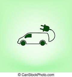 eco, 平ら, アイコン, 自動車