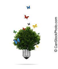 eco, 成長する, lightbulb, 木, 中, concept: