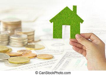 eco, 房子圖標, 能量, 概念