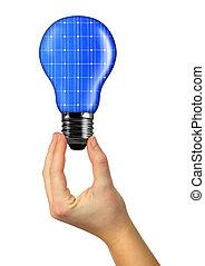 eco, 手, 電球, エネルギー
