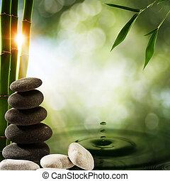 eco, 抽象的, 背景, 水, はね返し, 竹