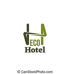eco, 旅馆, 矢量, 签署