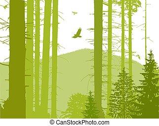 eco, 景色。, イメージ, 旗
