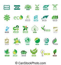 eco, 最も大きい, ベクトル, コレクション, アイコン
