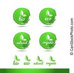 eco, 有機体である, ロゴ, グランジ, 自然, bio