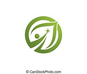 eco, 木の 葉, ロゴ, テンプレート