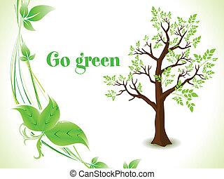 eco, 木, 抽象的, 背景, 緑