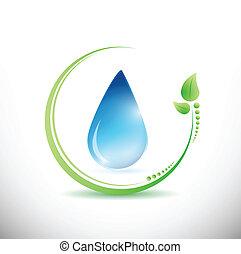 eco, 水, 葉, デザイン, イラスト