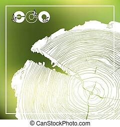 eco, 海報, 年度, 樹圓環, 短剖面, 成長, grayscale, 標識語, 圖畫