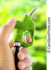 eco, 燃料, ノズル, concept., エネルギー