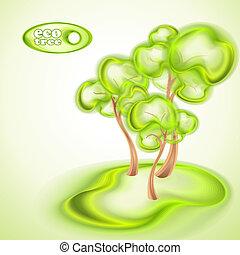 eco, 緑の背景, 木
