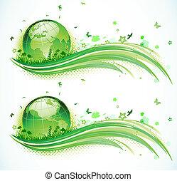 eco, 緑の背景