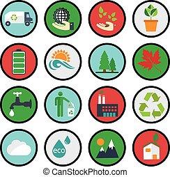 eco, 緑, エコロジー, アイコン, ベクトル