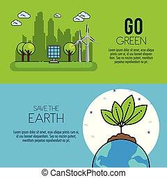 eco, 緑, エネルギー, infographic, デザイン