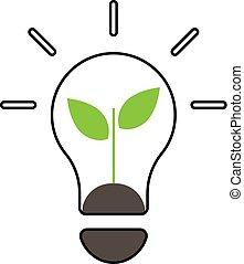 eco, 線, icon-, 概念, エネルギー
