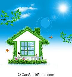 eco, 背景, 抽象的, house., 緑, デザイン, あなたの