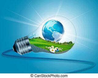eco, 能量, 背景, 内部。, 摘要设计, 你