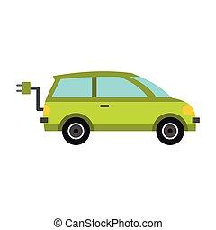 eco, 自動車, アイコン, スタイル, 平ら