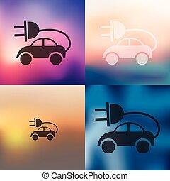 eco, 自動車, アイコン, 背景, ぼんやりさせられた