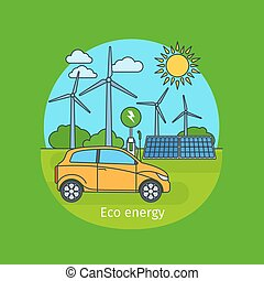 eco, 自動車, エネルギー, 概念