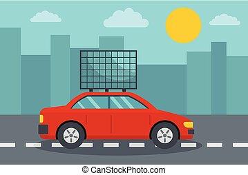 eco, 自動車, スタイル, 概念, 平ら