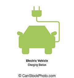 eco, 自動車, ベクトル, デザイン, テンプレート, ロゴ