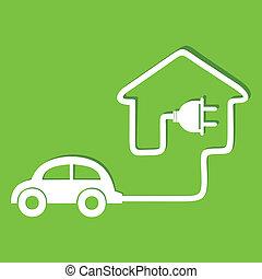 eco, 自動車, 作りなさい, アイコン, 家
