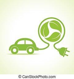 eco, 自動車, 概念, アイコン, リサイクルしなさい