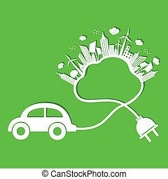 eco, 自動車, 概念, エコロジー