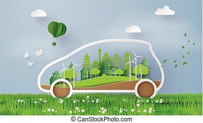 eco, 自動車, 概念