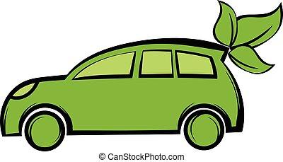 eco, 自動車, 漫画, アイコン