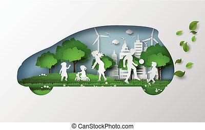 eco, 自動車, liftstyle., 概念