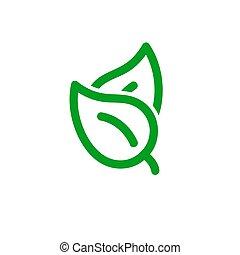 eco, 葉, イラスト, ベクトル, アイコン, シンボル。, 隔離された, 対, 春, 株, 白, バックグラウンド。