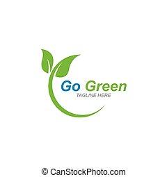eco, 葉, テンプレート, 木, ロゴ, 行きなさい, 緑