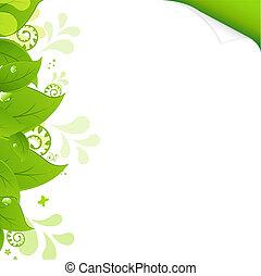 eco, 葉, 緑の背景