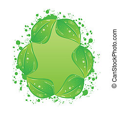 eco, 葉, 隔離された, ラベル, 緑の背景, 白