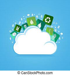 eco, 計算, 味方, 雲, アイコン