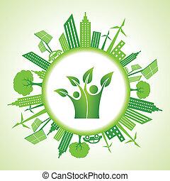 eco, 都市の景観, 緑, アイコン