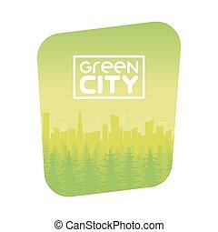eco, 都市, デザイン, 緑の背景