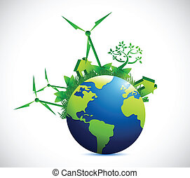 eco, 都市, 地球, デザイン, イラスト