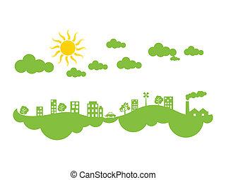 eco, 都市, 抽象的, 緑, 気候