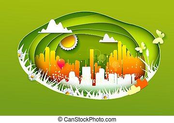 eco, 都市 生活, 概念, スタイル