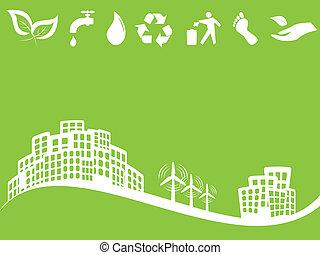 eco, 都市, 緑, 味方