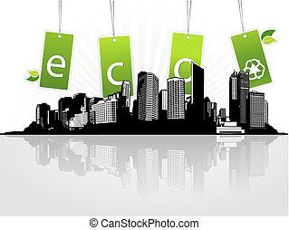 eco, 都市, tags., ベクトル, 芸術