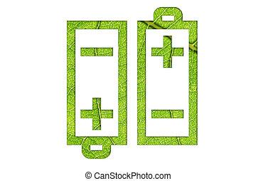 eco, 電池, エネルギー, 緑