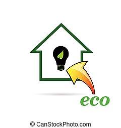 eco, 電球, ベクトル, 家