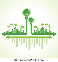 eco, 電球, 概念, エコロジー